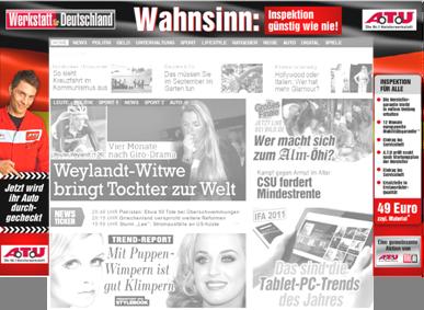 Der einrahmender Werbebanner Bild-Zeitung